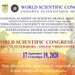World Scientific Congress – 2020 – Video Conference