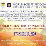 World Scientific Congress – 2020 – Video Conference